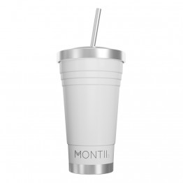 MontiiCo Stainless Steel Insulated Smoothie Cup & Straw - 450ml White