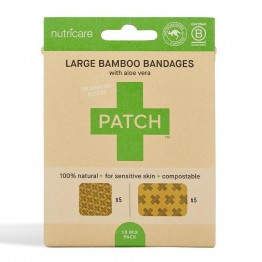 Patch Large Bamboo Bandages Aloe Vera - Burns & Blisters (10 Pack)