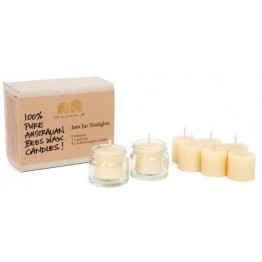 Queen B Beeswax Jam Jar Tealight Candle Set w/ 8 candles & 2 jars (4-5hrs burn each - 75c/hour)