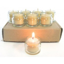 Queen B Beeswax Jam Jar Tealight Candle Set w/ 8 candles & 8 jars (4-5hrs burn each - 98c/hour)