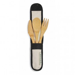 Rechusable Bamboo Cutlery Set with Natural Pouch