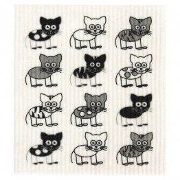 Retro Kitchen Swedish Dish Cloth - Cats