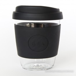 Sol Reusable Glass Coffee Cup 354ml (12oz) - Basalt Black