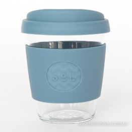 Sol Reusable Glass Coffee Cup 354ml (12oz) - Blue Stone