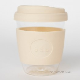 Sol Reusable Glass Coffee Cup 354ml (12oz) - Coastal Cream