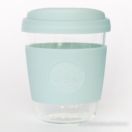 Sol Reusable Glass Coffee Cup 354ml (12oz) - Cool Cyan
