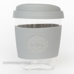 Sol Reusable Glass Coffee Cup 354ml (12oz) - Cool Grey