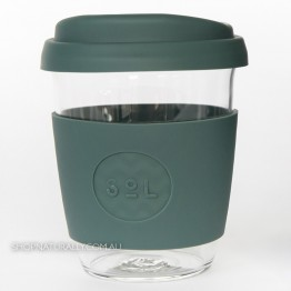 Sol Reusable Glass Coffee Cup 354ml (12oz) - Deep Sea Green