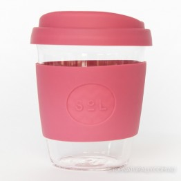 Sol Reusable Glass Coffee Cup 354ml (12oz) - Radiant Rose
