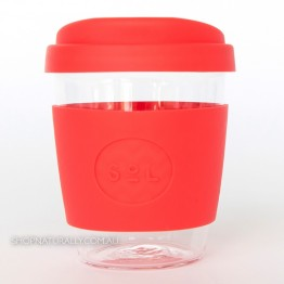 Sol Reusable Glass Coffee Cup 354ml (12oz) - Rocket Red
