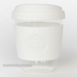 Sol Reusable Glass Coffee Cup 354ml (12oz) - White Wave