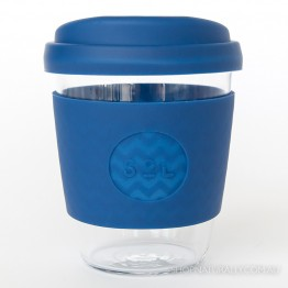 Sol Reusable Glass Coffee Cup 354ml (12oz) - Winter Bondi Blue