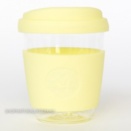Sol Reusable Glass Coffee Cup 354ml (12oz) - Yummy Yellow