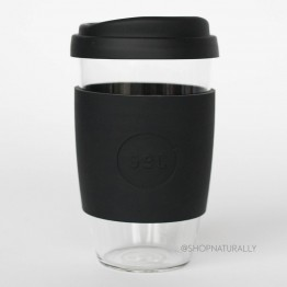 Sol Reusable Glass Coffee Cup 473ml (16oz) - Basalt Black