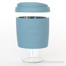 Sol Reusable Glass Coffee Cup 473ml (16oz) - Blue Stone