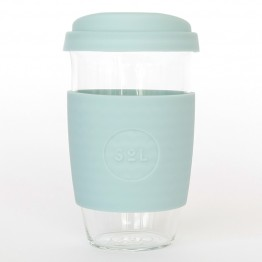 Sol Reusable Glass Coffee Cup 473ml (16oz) - Cool Cyan