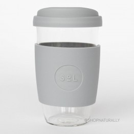 Sol Reusable Glass Coffee Cup 473ml (16oz) - Cool Grey