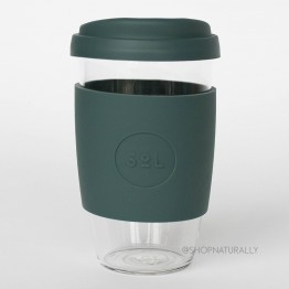 Sol Reusable Glass Coffee Cup 473ml (16oz) - Deep Sea Green