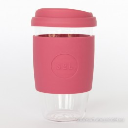 Sol Reusable Glass Coffee Cup 473ml (16oz) - Radiant Rose