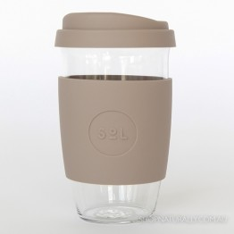 Sol Reusable Glass Coffee Cup 473ml (16oz) - Seaside Slate