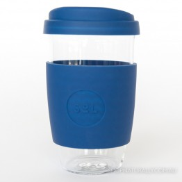 Sol Reusable Glass Coffee Cup 473ml (16oz) - Winter Bondi Blue