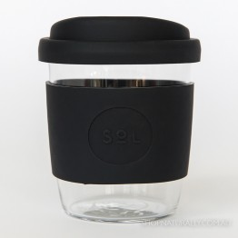 Sol Reusable Glass Coffee Cup 236ml (8oz) - Basalt Black
