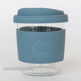 Sol Reusable Glass Coffee Cup 236ml (8oz) - Blue Stone