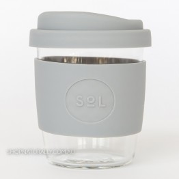 Sol Reusable Glass Coffee Cup 236ml (8oz) - Cool Grey