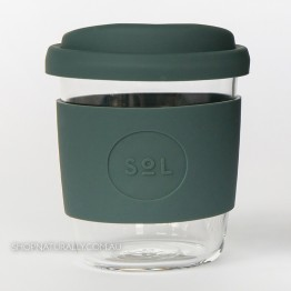 Sol Reusable Glass Coffee Cup 236ml (8oz) - Deep Sea Green