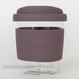 Sol Reusable Glass Coffee Cup 236ml (8oz) - Mystic Mauve