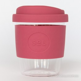 Sol Reusable Glass Coffee Cup 236ml (8oz) - Radiant Rose