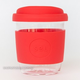 Sol Reusable Glass Coffee Cup 236ml (8oz) - Rocket Red