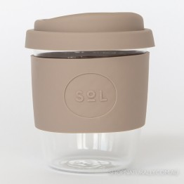 Sol Reusable Glass Coffee Cup 236ml (8oz) - Seaside Slate