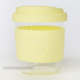 Sol Reusable Glass Coffee Cup 236ml (8oz) - Yummy Yellow