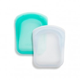 Stasher Reusable Silicone Pocket Duo - Clear & Aqua