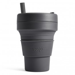 Stojo Biggie Collapsible Silicone Smoothie Cup - 470ml Carbon