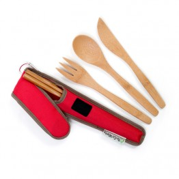 To-Go Ware Reusable Bamboo Utensil Set - Poinsettia (Red)