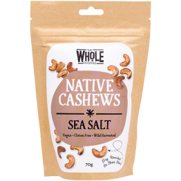 The Whole Foodies Native Cashews - Sea Salt 70g