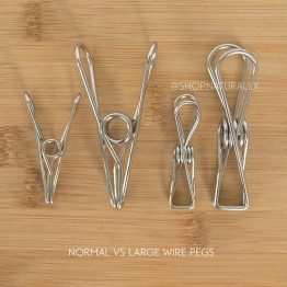 Wire Pegs Stainless Steel Clothes Pegs - Normal Grade (201 SS) - 10 LARGE pegs