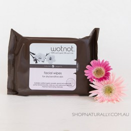 Wotnot Naturally Nurturing Facial Wipes 100% Biodegradable and Alcohol Free - dry to sensitive skin - 25pc