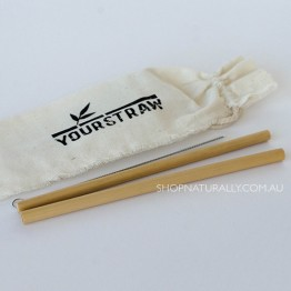 Yourstraw Bamboo Straws - 2 pack with pouch and cleaner