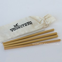 Yourstraw Bamboo Straws - 4 pack with pouch and cleaner