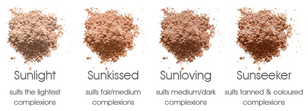 Inika Mineral Bronzer Colour Chart