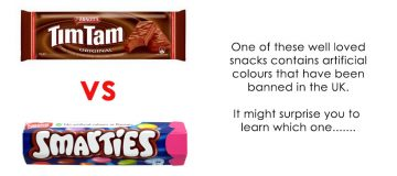 Tim Tams vs Smarties : which one contains banned artificial colours?