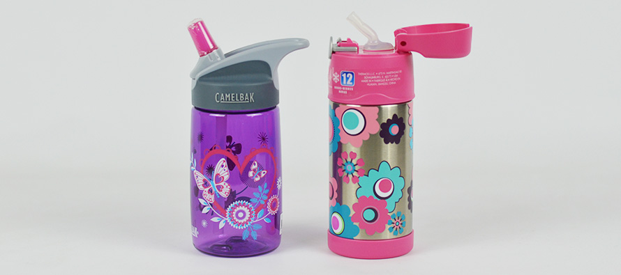 Kids Straw Drink Bottles compared - Camelbak Eddy vs Thermos Funtainer